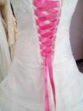 Lacet ruban ROSE FUSHIA / 3 mètres - satiné pour robe de mariée/soirée