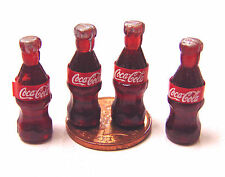 1:12 Scale 4 Small Coke Bottles Tumdee Dolls House Pub Bar Cafe Shop Cola Drink