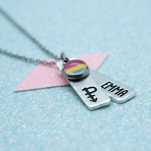 LGBT Bright Pansexual Necklace, Personalised, Gay Pride, Pendant Necklace