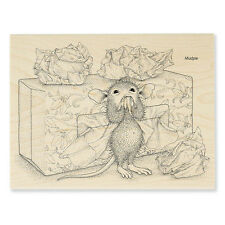 House Mouse Rubber Stamps Tissue Box New Wood Stamp