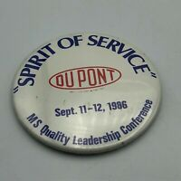 "1986 DuPont Chemical Spirit Of Service 3"" Employee Conference Badge Pinback  M6"