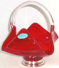 Baldwin Sterling Crystal Ruby Red Basket Clear Handle Silver Base Rare Vintage