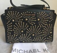 NWT MICHAEL MICHAEL KORS Selma Medium Studded Leather Messenger Bag $298 Black