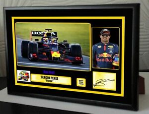 """Sergio Perez F1 Red Bull 2021 Framed Canvas Signed Print """"Great Gift"""