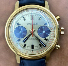 Wakmann1960/70s Vintage Swiss Gold Plated Valjoux Chronograph Watch ~Serviced~