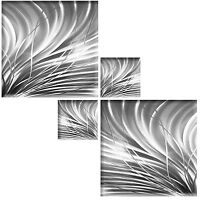 ABSTRACT CANVAS PICTURE SILVER GREY WHITE WALL ART SQUARE MULTI 4 PIECE 104cm
