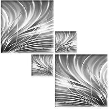Abstracto Cuadro Lienzo Gris Plata Blanco Pared Arte Cuadrado Multi 4 Pieza 104cm
