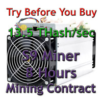 Bitmain Antminer S9 13.5 THash/sec Guaranteed 8 Hours Mining Contract SHA256