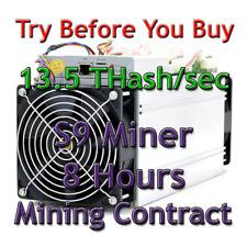 Bitmain Antminer S9 13.5 THash/sec Guaranteed 8 Hours Mining Contract SHA256