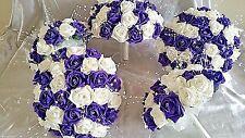WEDDING FLOWER BOUQUET SET 1 X BRIDES 4 X BRIDESMAIDS IVORY AND PURPLE DIAMNTE'S