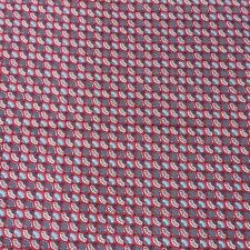 Vintage Cotton Sewing Craft Quilting Fabric Geometric Grey Blue Red