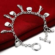 925 Sterling Silver Charm Round Bangle Women's Men Fashion Heart Bracelet DLH108