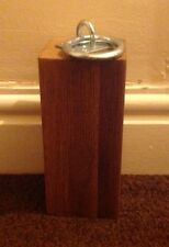 Rustic Oak Wooden Door Stop With Galvanised Ring Handle