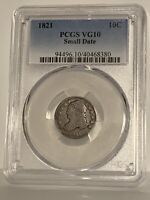 1821 10c Small Date Capped Bust Silver Dime VG10 Small Date