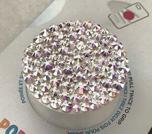 Bling White Popsocket Phone Grip/Phone Stand made with Crystal AB Swarovski
