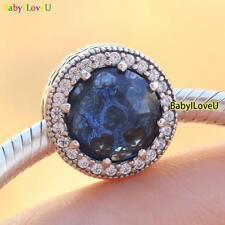 S925 Sterling Silver Radiant Hearts Charm Moonlight Blue Clear CZ Fit Bracelet