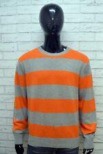 TOMMY HILFIGER Maglione a Righe Uomo Pullover Lana D'agnello Taglia 2XL Sweater