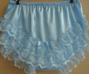 "Nel-jen Lt. Blue Adult Sissy ""Handmade Baby Ruffle Panties Fetish Cosplay Lace"