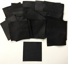 Black full-grain cowhide REAL Italian leather, 50 5x5inch squares in a pack