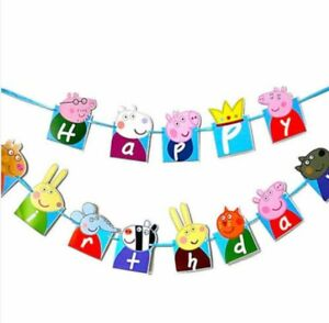 3 Meter Peppa Pig Happy Birthday Banner Bunting Party Decoration Flags Kids