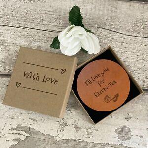 Handmade Mindfulness Gift Set, Leather Coaster & Giftbox Novelty Friendship Love