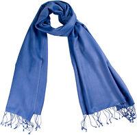 Pashmina Schal Blau, Stola 70x198  70% Cashmere 30% Seide, silk scarf Blue