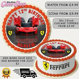 FERRARI SPORTS CAR THEMED PERSONALISED EDIBLE BIRTHDAY CAKE CUPCAKE TOPPERS