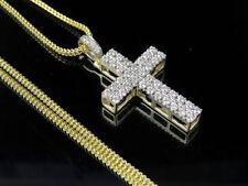 Men's Real Diamond 10K Yellow Gold 2 Row Cross 1.4 Pendant Chain 24 Set 1.10ct