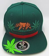 California Republic Marijuana Snapback Cap Hat 420 THC Cannabis Dope Green NWT