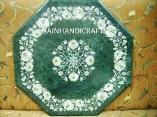 "Green 18"" Marble Malachite Dining Coffee Table Top Mosaic Lapis Inlay Bedroom"