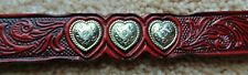 BEAUTIFUL HAND TOOLED IN TEXAS GENUINE RED LEATHER BELT ~ 6 CONCHOS ~ SIZE 32