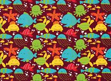 Free Spirit Ocean Cotton Quilt Fabric  Beach David Walker  Brown    Bfab
