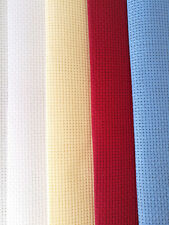BINCA / AIDA 6 COUNT CROSS STITCH FABRIC BLUE RED WHITE CREAM **10% OFF 2+**