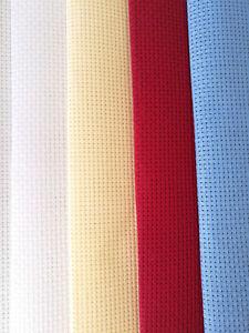 BINCA / AIDA 6 COUNT CROSS STITCH FABRIC BLUE RED WHITE CREAM **10% OFF 2+**