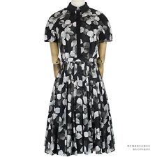 Jason Wu Black Grey Monochrome Tunia Floral Print Summer Tea Dress US4 UK8
