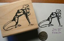 Vintage pin up girl rubber stamp P49C