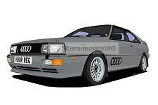 AUDI QUATTRO CAR ART PRINT PICTURE (SIZE A4). CHOOSE COLOUR, ADD REG DETAILS