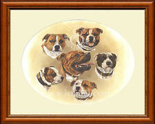 STAFFORDSHIRE BULL TERRIERS head study print by Lynn Paterson