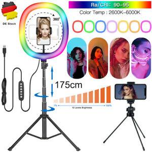 "12"" LED RGB Ringlicht Ringleuchte Lampe Kit Selfie+ 1.75CM Stativ Fotografie DHL"