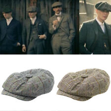 AU Mens Flat Cap Tweed 8 Panel Newsboy Baker boy Hat Gatsby Peaky Blinders Top