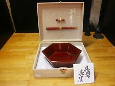Japanese Hida takayama shunkei  URUSHI   A wooden bowl with chopsticks restraint