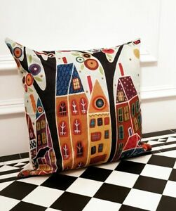 Linen  Artistic Blue Painting Houses Contemporary   Occasion Scatter Cushion