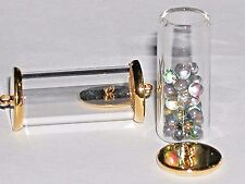 1 Glass Tube wide mouth bottle vial gold plated cap for necklace pendant charm *