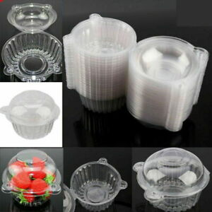 100 Single Individual Cupcake Containers Plastic Clear Dome Cupcake Holder