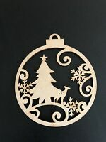 10cm Christmas Tree Baubles Laser Cut MDF Wooden XMAS Decorations