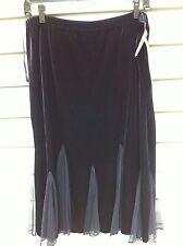 XSCAPE by Joanna Chen Black Velvet Formal Skirt with Kick Pleats size XL