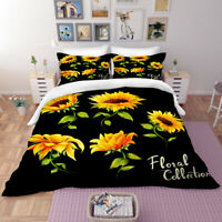 Sunflower Collection Black Bedding Set Duvet Cover Comforter Cover PillowCase 3D