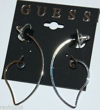 NWT Guess Silver Metal Abstract Heart Shaped Wire Hoop Earrings