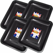 4 x EXTRA LARGE NON-STICK ROASTING TINS Deep Roaster Baking Dish Pan Oven Tray