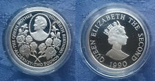 1990 Alderney £2 Two Pound .925 Silver Proof Coin, Queen Mother's 90th Birthday,